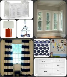 Nursery inspiration board...gray walls, white furniture, navy and orange accents. Cute, but not too babyish.