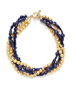 KEP Four Strand Gold Bead & Multi-Shape Navy Blue Quartz Necklace    Hover over image to zoom    KEP  Four Strand Gold Bead & Multi-Shape Navy Blue Quartz Necklace