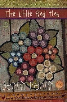Jenny Penny Wool Mat - Wool Penny Flowers - Wool Applique - The Little Red Hen