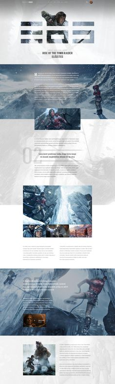 Rise of the Tomb Raider web design by Viktor Vörös via Dribble. Website Layout, Web Layout, Layout Design, Ui Design, Website Ideas, Flyer Design, Website Design Inspiration, Graphic Design Inspiration, Web And App Design