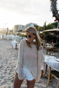 Beach Sweater, Crochet Sweater for Summer Outfits Nice, France Travel Guide - Styled Snapshots Beach Outfit Plus Size, Cold Beach Outfit, Fall Beach Outfits, Beach Outfits Women Plus Size, Beach Outfits Women Vacation, Casual Beach Outfit, Beach Attire, Beach Date Outfit, Summer Holiday Outfits