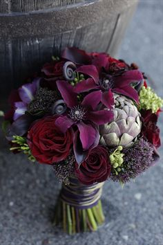 Coastal Creative Events www. bouquet by Twisted Willow Flowers fall wedding boquets / fall wedding boquette / fall wedding koozie / fall wedding flowers / fall wedding pallettes Dark Purple Wedding, Purple Wedding Bouquets, Flower Bouquets, Bridal Bouquets, Plum Wedding Flowers, Carnation Wedding, Dark Purple Flowers, Wedding Dresses, Purple Hues