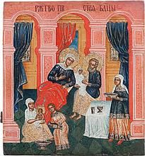 A LARGE ICON SHOWING THE NATIVITY OF THE MOTHER OF
