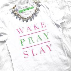 Alpha Kappa Alpha Sorority, Inc. Inspired Wake Pray Slay shirt// AKA shirt // Sorority Shirt