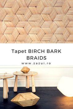 Nu-i asa ca simti cum natura iti bate la usa cu acest tapet?  O combinatie perfecta intre contemporan si rustic! Birch Bark, Zen, Braids, Design, Bang Braids, Cornrows, Braid Hairstyles, Plaits