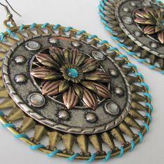 Tribal Earrings Shield Earrings from AdornmentsbyDebbie on Etsy