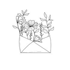 Grow where you are planted. Get floral prints here. Black and white floral art. Flowers in an envelope. Envelope Tattoo, Envelope Art, Black And White Doodle, Black And White Drawing, White Ink, Floral Drawing, Art Floral, Floral Prints, Minimalist Drawing