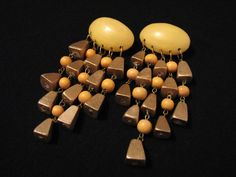 HUGE Vintage Wooden Yellow and Gold Beaded Dangle by ditbge, $22.00