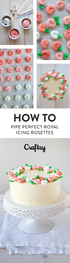 Florals are a timeless design motif for cakes, cupcakes, cookies and more. One of the simplest flowers anyone cake make is a quick piped royal icing rosette.
