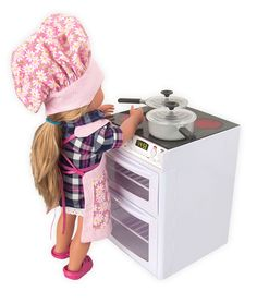"NEW DOLL KITCHEN STOVE & OVEN RANGE & POTS FOR 18"" AMERICAN GIRL DOLL FURNITURE #LaurentDoll"