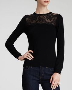 Lace-Yoke Sweater by RED by Valentino at Neiman Marcus 09a9954fb4c