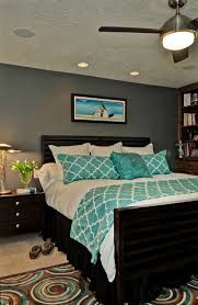 gray turquoise master bedroom -