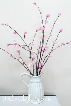 someday crafts DIY Cherry blossom, pink tissue paper, sticks, glue gun and a little time. My next spring craft I have to do this week. That make 3 easy crafts this week. diy cherry blossoms 018 — Creations by Kara Flower Crafts, Diy Flowers, Paper Flowers, Flowers Decoration, Faux Flowers, Tree Decorations, Cherry Blossom Decor, Cherry Blossoms, Decoration Vitrine