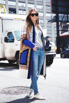 Peter Pilotto coat, grey tee, jeans and sneakers