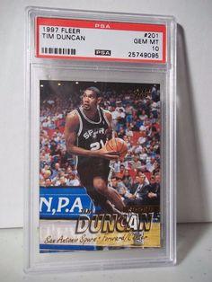 1997 Fleer Tim Duncan RC PSA Gem Mint 10 Basketball Card #201 NBA Collectible  #SanAntonioSpurs