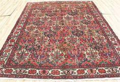 1940s-Unique-Authentic-Antique-Persian-Sarouk-Lotus-Oriental-area-rug-7x10