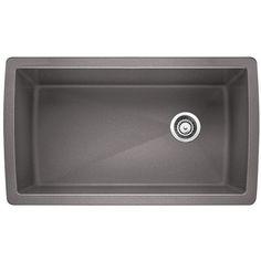 Blanco DIAMOND Undermount Granite Composite in. Single Bowl Kitchen Sink in Metallic Gray - 441770 - The Home Depot Bowl Sink, Composite Sinks, Home Improvement, Kitchen Makeover, Remodel, Kitchen Bath Collection, Sink Faucets, Undermount Kitchen Sinks, Single Sink Kitchen