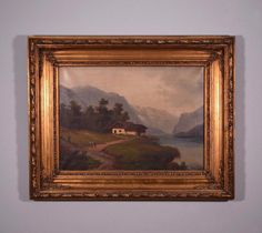 Signed Antique Oil on Canvas Painting of a Cottage by a Lake in the Mountains #Impressionism