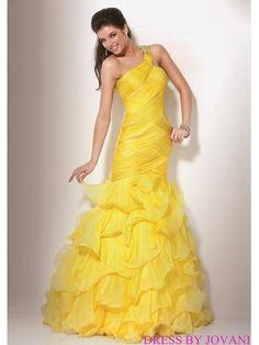 One Shoulder Prom Dress With Ruffled Mermaid Skirt