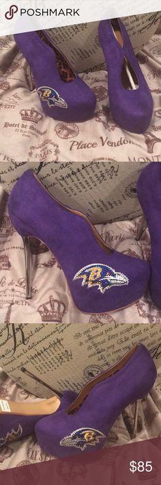 NFL HEELS Purple suede material NFL Heels Baltimore Ravens Animal Free Product Silver skinny heel Shoes Heels
