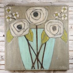 White Flowers on Gray Painting by Cecel Allee