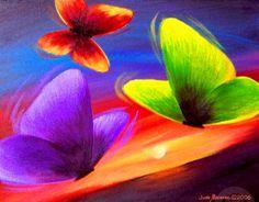 Pintura Moderna al Óleo: Cuadro sencillo con mariposas