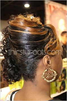 This a few casual relaxed hairstyles updos that can be worn for many occasions. The Spring/Summer season is a approaching and if you are like me, I do not like hair hanging on my neck. Black Girl Updo Hairstyles, Bob Hairstyles With Bangs, Retro Hairstyles, Little Girl Hairstyles, Relaxed Hairstyles, Black Hair History, Casual Hair Updos, Summer Wedding Hairstyles, Wedding Updo