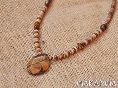 Wooden Tribal Necklace Unisex Native Necklace by MaKarmaCreations