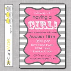 It's a girl, baby shower printable invite.  PInk and grey. 300 dpi resolution