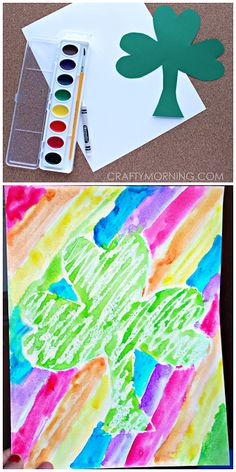 Make a pretty crayon resist st patricks day craft with your kids! It's a shamrock in the middle with rainbow stripes. March Crafts, St Patrick's Day Crafts, Spring Crafts, Holiday Crafts, Holiday Fun, Holiday Ideas, Saint Patricks Day Art, St Patricks Day Crafts For Kids, Kindergarten Art