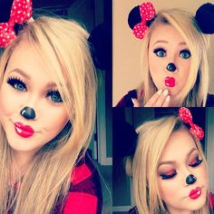 10 makeup Minnie Mouse for Halloween! Ideas for big and small! Costume Halloween, Halloween Makeup Looks, Disney Halloween, Holidays Halloween, Halloween Make Up, Halloween Party, Halloween Face, Couple Halloween, Mini Mouse Costume
