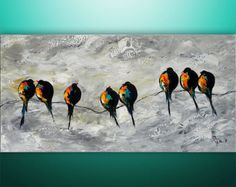Abstract Painting Birds Painting Landscape by GabrielaStauffer