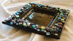Bejeweled black fused glass platter