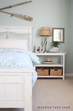 Master Bedroom Tour - Meadow Lake Road - love this bed and the night stands!