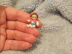 Miniature handmade MINI TOY BABY DOLLY ooak TINY JOINTED ART DOLL DOLLHOUSE
