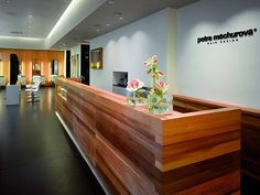 wood clad reception desk