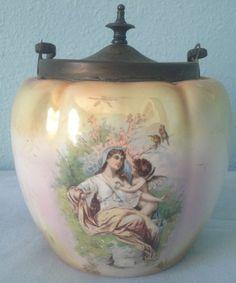Antique-Lustre-Porcelain-Transfer-Floral-Violet-Cherub-Lady-Lidded-Biscuit-Jar