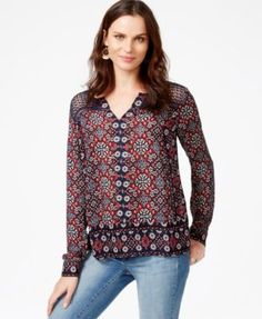 Lucky Brand Printed Crochet-Detail Top rayon/cotton red/navy/white szS 51.99 Sale thru 11/24