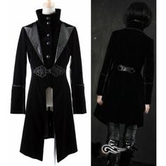 Black Edwardian Gothic Style Jackets Windbreakers Clothing for Men Women SKU-11401174