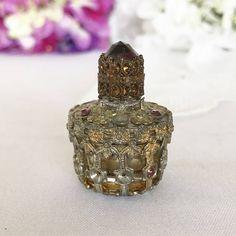 Antique Perfume Bottle & Dauber 1920's Vintage Miniature Irice Purple Amethyst Jeweled Ormolu Gold Filigree Czech Glass Vial decanter by WonderCabinetArts