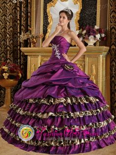 Customize Ruffles Layered and Purple For 2013 Yuscaran Honduras Modest Quinceanera Dress Wholesale Style QDZY392FOR