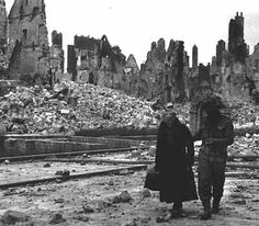 Caen obliterated - Caen was a D-Day objective, but took more than two months to capture, by which time the town lay in ruins.