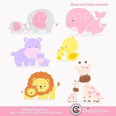 Mom and Baby Animal digital clipart / elephant, giraffe, lion, whale, duck, hippo Clip art for personal and commercial use on Etsy, $5.00::