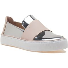 STUART WEITZMAN Boyband Tin Glass Leather Sneaker (6.425 UYU) ❤ liked on Polyvore featuring shoes, sneakers, tin glass, leather platform sneakers, metallic slip-on sneakers, platform slip on sneakers, slip-on sneakers and leather slip-on shoes