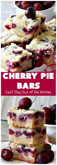 Cherry Pie Bars taste like eating Cherry Pie but in brownie form--and they're so much easier to make! This luscious dessert is filled with plump, fresh cherries and almond flavoring. It's a terrific treat for summer when fresh cherries are in season. Cherry Desserts, Köstliche Desserts, Delicious Desserts, Dessert Recipes, Sweet Cherry Recipes, Desserts In A Glass, Bar Recipes, Sweet Desserts, Plated Desserts