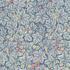 Bramble Fabric Blackberry bushes on a rich slate blue with an abundance of berries and white flowers create this wonderful design from the Morris