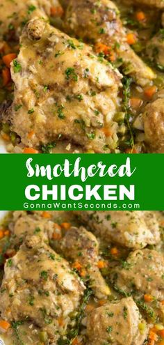 Smothered chicken punches up the intensity by slow-simmering chicken in a flavorful gravy. This will bring the family to the dinner table in a flash! Turkey Recipes, Dinner Recipes, Restaurant Recipes, Dessert Recipes, Smothered Chicken Recipes, Smothered Potatoes, Chicken Pieces Recipes, Southern Specialties, Southern Recipes