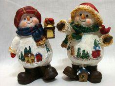 "Snowman Pair of 5"" Figurines Cute Couple Lantern Birdhouse Christmas Decoration"
