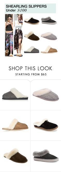 """""""Under $100: Shearling Slippers"""" by polyvore-editorial ❤ liked on Polyvore featuring Topshop, Patricia Green, Australia Luxe Collective, SOREL, UGG Australia, under100 and shearlingslippers"""