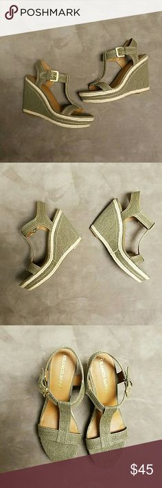 """Franco Sarto Green Olive Wedges Espadrilles 9 1/2M Nice pair of Wedges. Olive green with beige trim. The store I bought them from had a price sticker on insole and when I tried to remove it125, it pulled a piece of the f off the left shoe. I reglued it back on. Other than that, no other flaws. Adjustable side buckle straps. 4 3/4"""" heel Franco Sarto Shoes Wedges"""